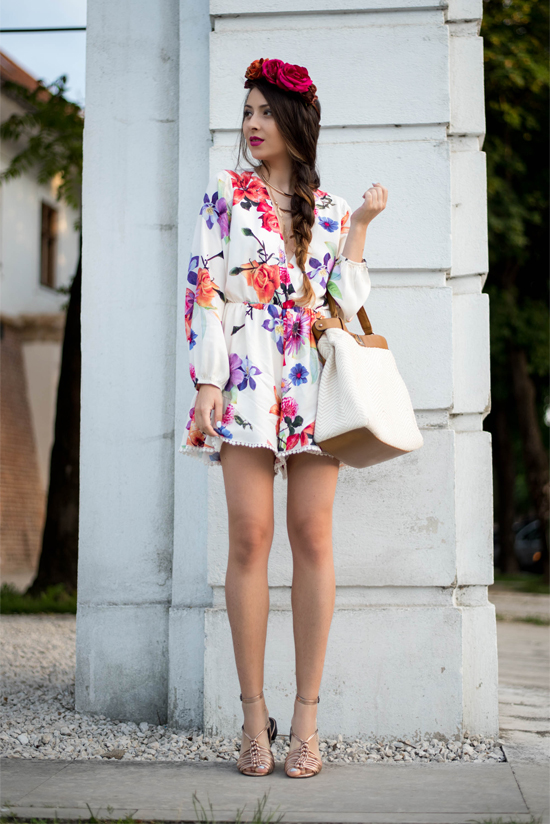 flower printed romper