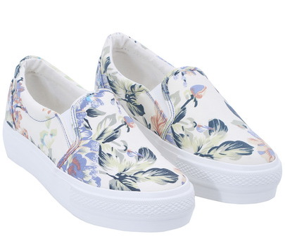 flower printed slip on sneakers