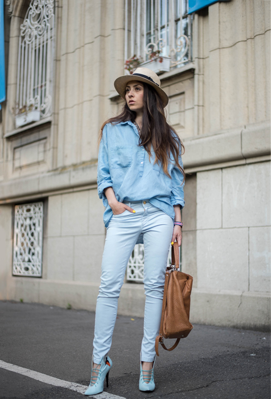 all blue relaxed look