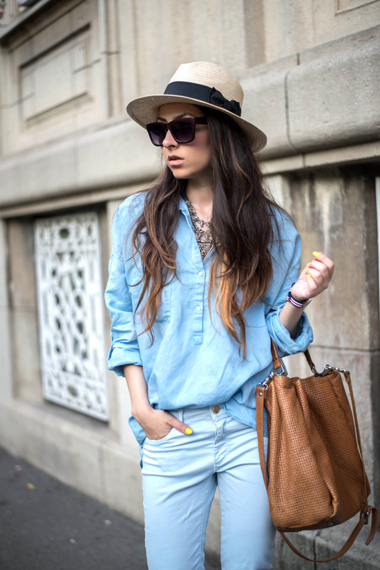 supersized blue shirt street style
