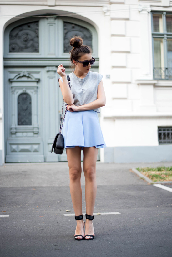 shein light blue A line skirt