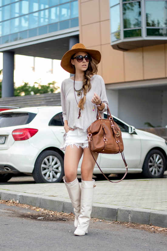 boots with shorts street style