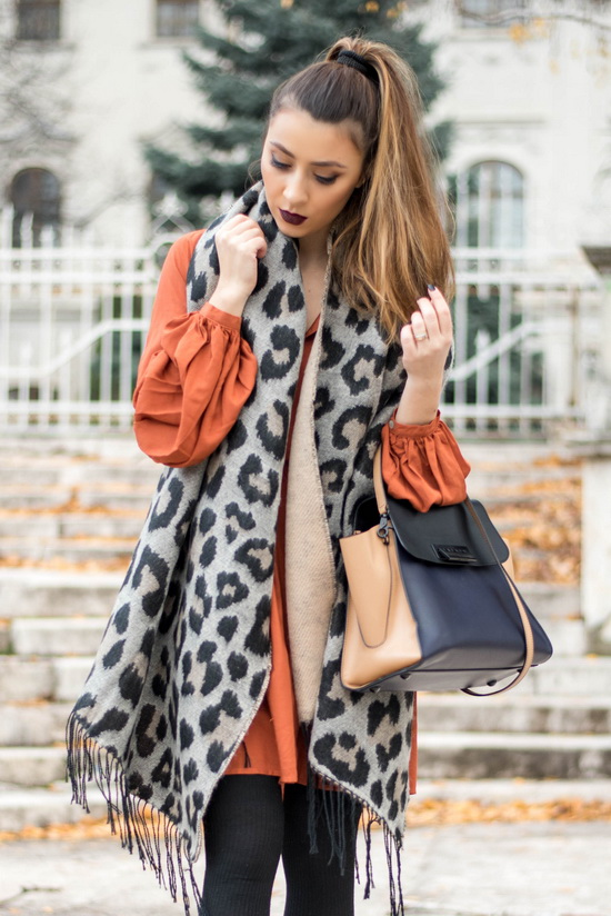 how to wear the animal print scarf