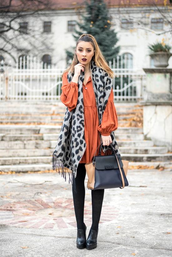 shein brown dress