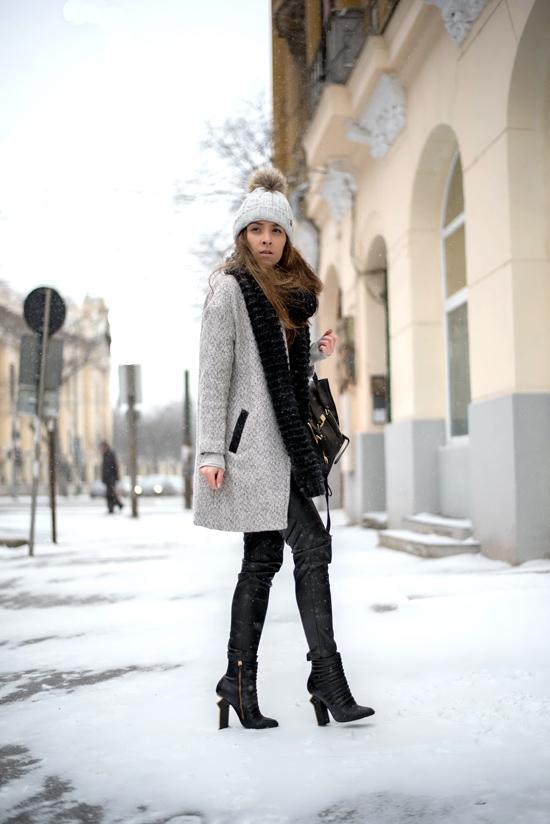 pompom fur hat