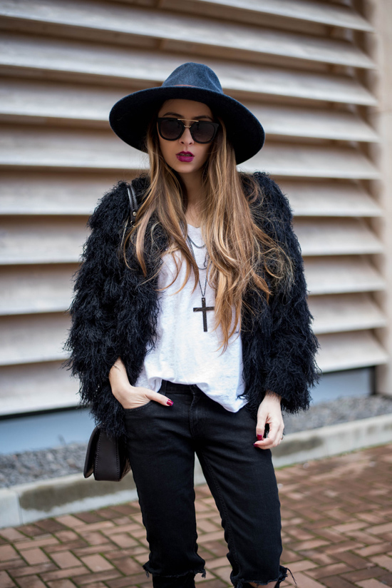 rock chic looking fur street style