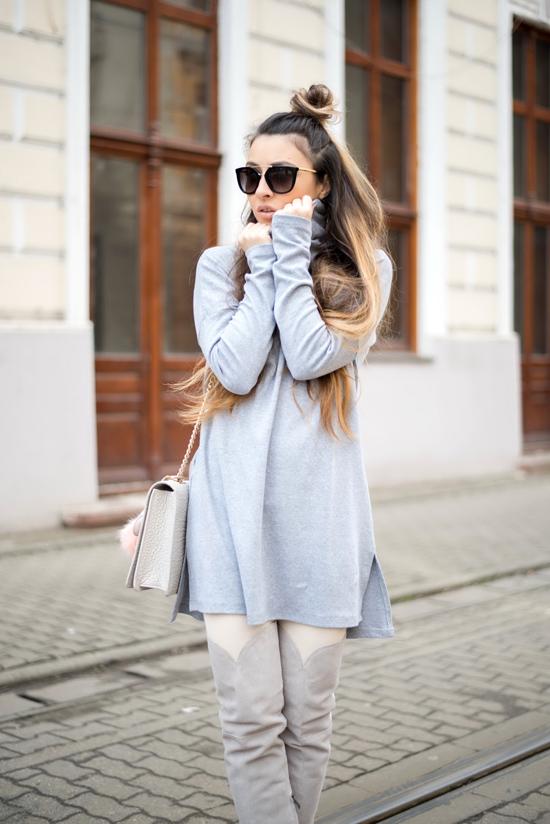 gray shein dress